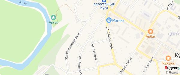 Улица Некрасова на карте Кусы с номерами домов