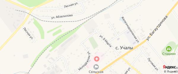 Переулок 8 Марта на карте села Учалы с номерами домов