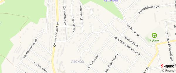 Улица Репина на карте поселка Кусинские Печи с номерами домов