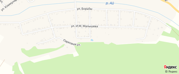 Парковая улица на карте Кусы с номерами домов