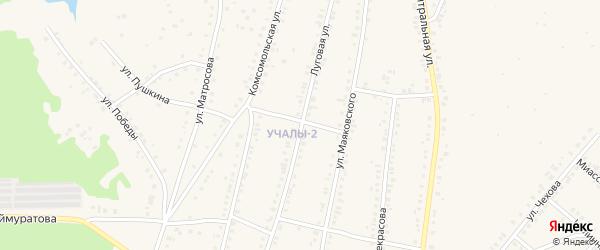 Луговая улица на карте Учалы с номерами домов