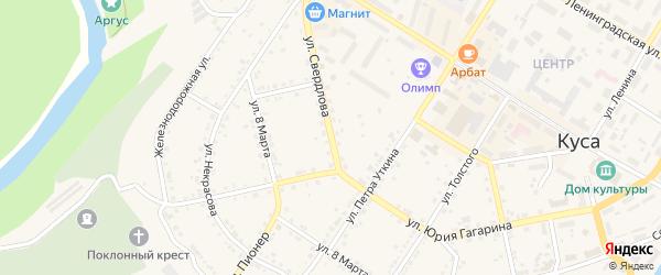Улица Свердлова на карте Кусы с номерами домов
