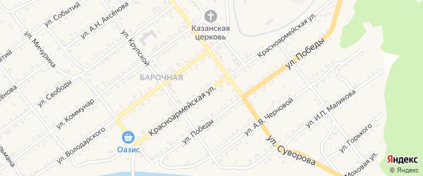 Красноармейская улица на карте Кусы с номерами домов