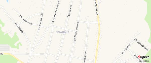 Улица Маяковского на карте Учалы с номерами домов