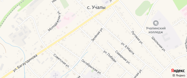 Зеленая улица на карте села Учалы с номерами домов
