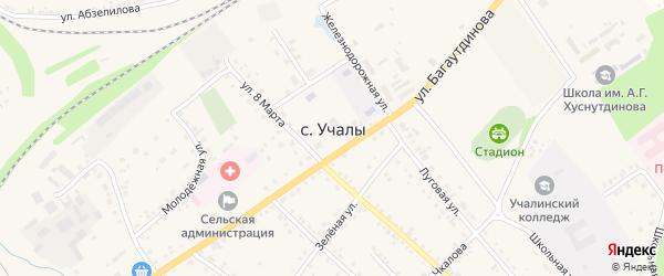 Улица С.Юлаева на карте села Учалы с номерами домов