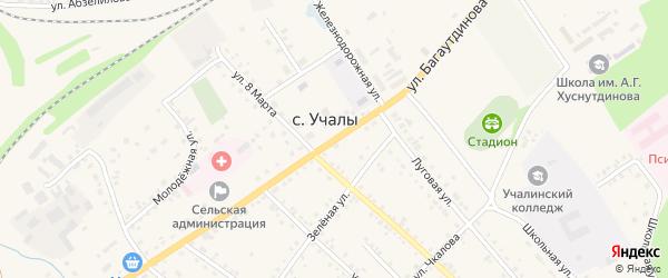 Улица Багаутдинова на карте села Учалы с номерами домов