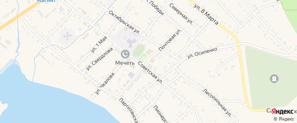 Почтовая улица на карте села Учалы с номерами домов