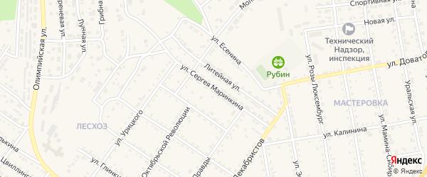 Улица Сергея Маринкина на карте Кусы с номерами домов