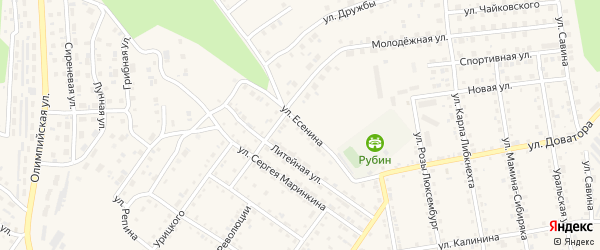 Улица Есенина на карте Кусы с номерами домов