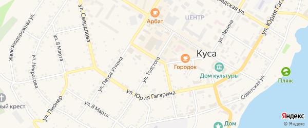 Улица Толстого на карте Кусы с номерами домов