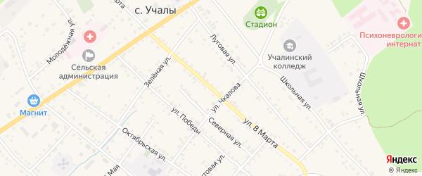 Гаражная 8-я улица на карте Учалы с номерами домов