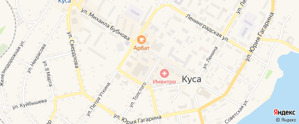 Улица Александра Матросова на карте Кусы с номерами домов