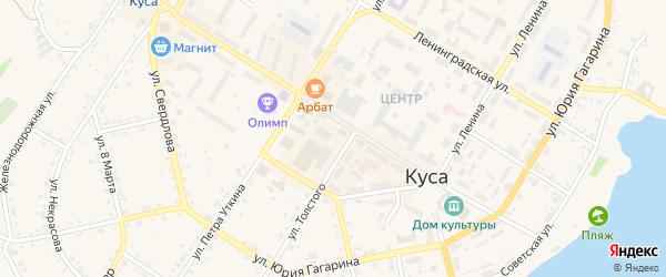 Улица Калинина на карте Кусы с номерами домов