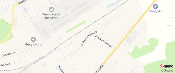 Улица Ахметгалина на карте села Учалы с номерами домов