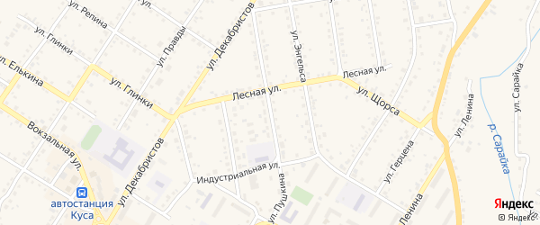 Улица Пушкина на карте Кусы с номерами домов