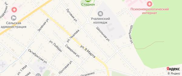 Луговая улица на карте села Учалы с номерами домов