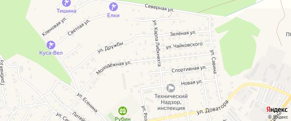 Молодежная улица на карте Кусы с номерами домов