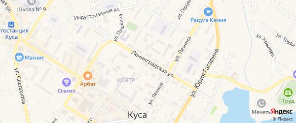 Ленинградская улица на карте Кусы с номерами домов