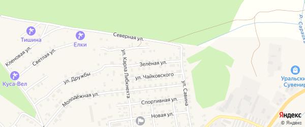 Зеленая улица на карте Кусы с номерами домов