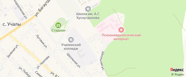 Школьный переулок на карте села Учалы с номерами домов