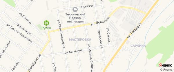 Улица Мамина-Сибиряка на карте Кусы с номерами домов