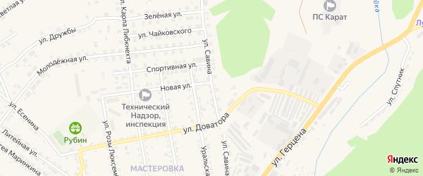 Улица Савина на карте Кусы с номерами домов