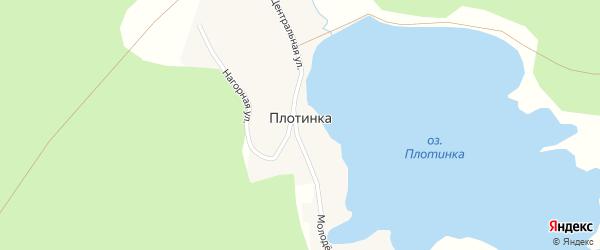 Молодежная улица на карте поселка Плотинки с номерами домов