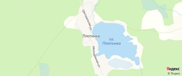 Карта поселка Плотинки города Златоуста в Челябинской области с улицами и номерами домов