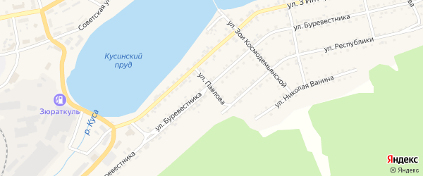 Улица Павлова на карте Кусы с номерами домов