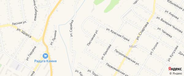 Песчаная улица на карте Кусы с номерами домов