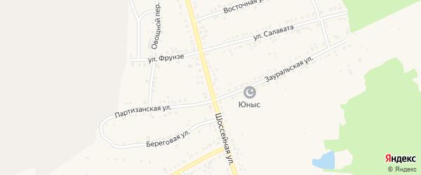 Шоссейная улица на карте Учалы с номерами домов