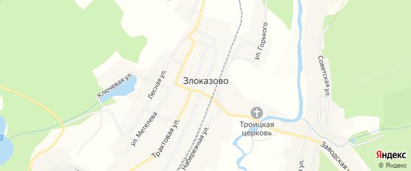 Карта села Злоказово в Челябинской области с улицами и номерами домов