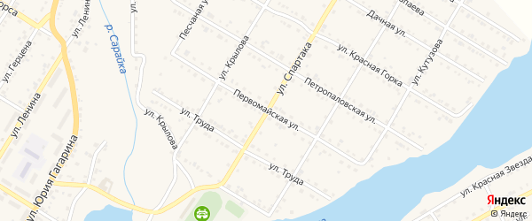 Первомайская улица на карте Кусы с номерами домов