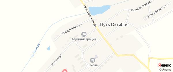 Октябрьская улица на карте поселка Пути Октября с номерами домов