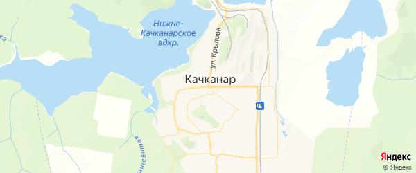 Карта Качканара с районами, улицами и номерами домов: Качканар на карте России