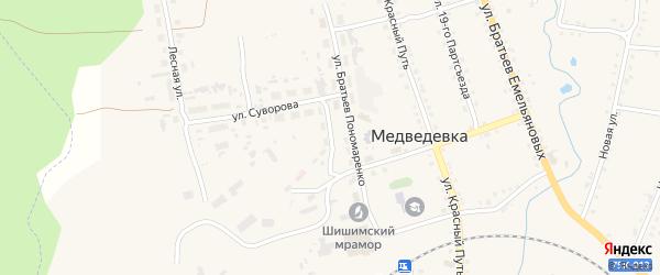 Улица Мира на карте села Медведевки с номерами домов