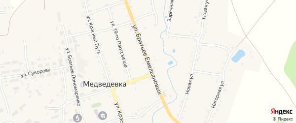 Улица Братьев Емельяновых на карте села Медведевки с номерами домов