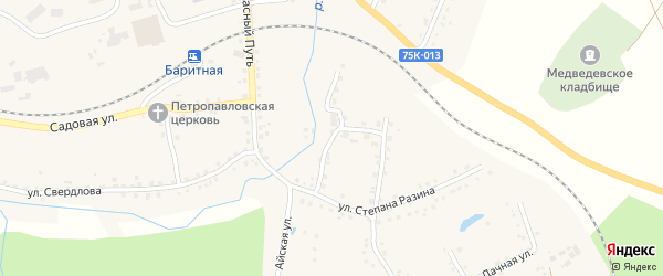Улица Братьев Вотиновых на карте села Медведевки с номерами домов