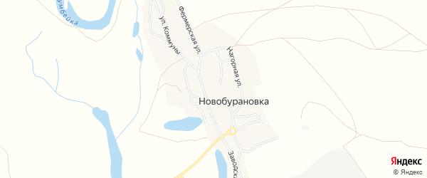 Карта села Новобурановки в Челябинской области с улицами и номерами домов
