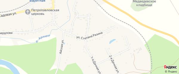 Улица Степана Разина на карте села Медведевки с номерами домов