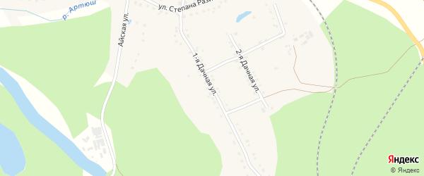 Дачная 1-я улица на карте села Медведевки с номерами домов