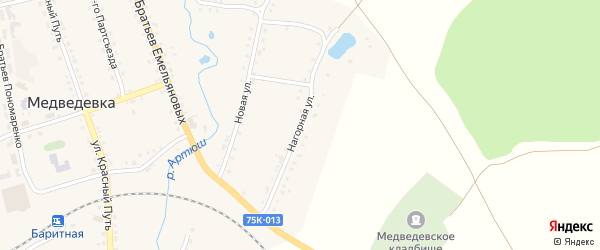 Нагорная улица на карте села Медведевки с номерами домов