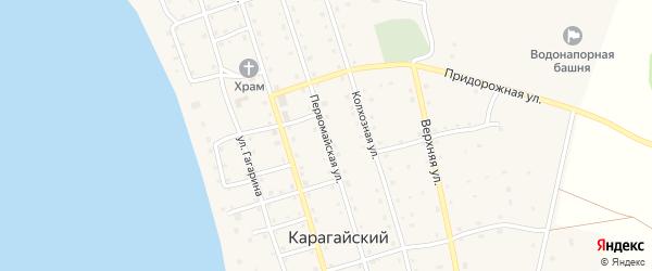 Первомайская улица на карте Карагайского поселка с номерами домов