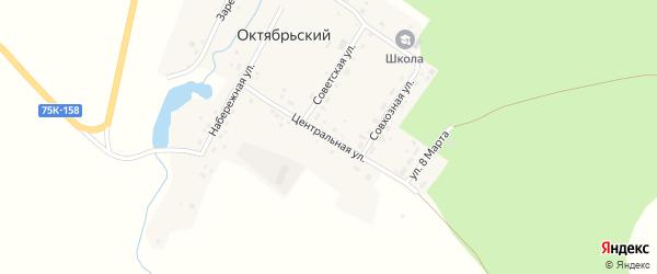 Центральная улица на карте Октябрьского поселка с номерами домов