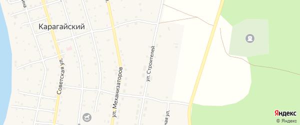 Улица Строителей на карте Карагайского поселка с номерами домов