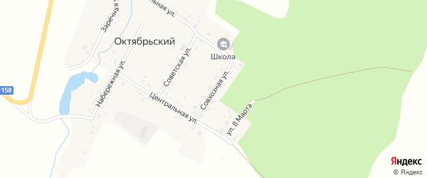 Совхозная улица на карте Октябрьского поселка с номерами домов