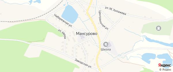 Российская улица на карте деревни Мансурово с номерами домов
