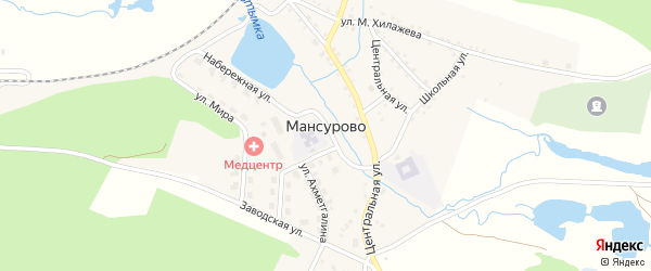 Нагорная улица на карте деревни Мансурово с номерами домов