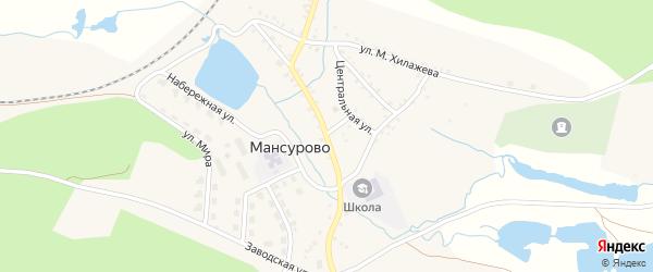 Центральная улица на карте деревни Мансурово с номерами домов